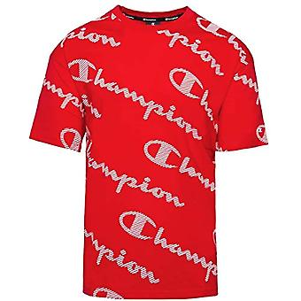 بطل الموسمية AC شعار جميعOver Crewneck تي شيرت، الأحمر، XL الرجال