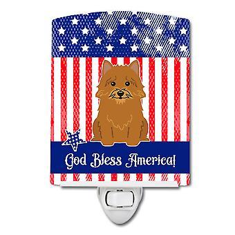 Caroline Schätze patriotischen Usa Norwich Terrier Keramik Nachtlicht, 6 x 4, mehrfarbig