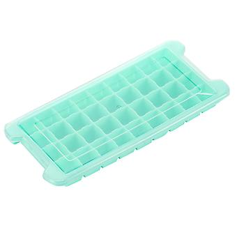DIY Homemade Silicone Mould Soft Easy Clean Beverage Ice Cube Tray With Lid Gift(26.7*11.7cm,Blue)