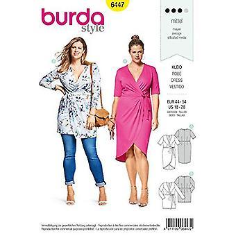 Burda Sewing Pattern 6447 Misses Mock-Wrap Dress Size 18-28