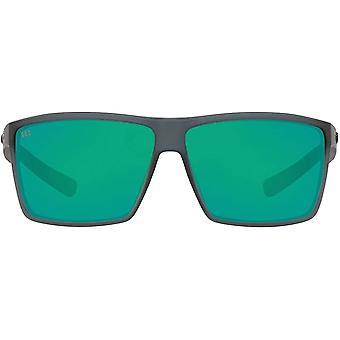 Costa Del Mar Mens Rincon Polarized Rectangular Sunglasses - Matte Smoke Crystal/Copper Green Mirrored - 63 mm