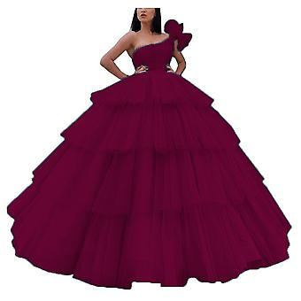 One Shoulder Tiered Pleats Long, Formal Prom, Toga's - Set 2