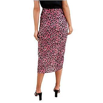 Sugarlips Women's Leopard Ruched MIDI Saia, Pink Multi, X-Small