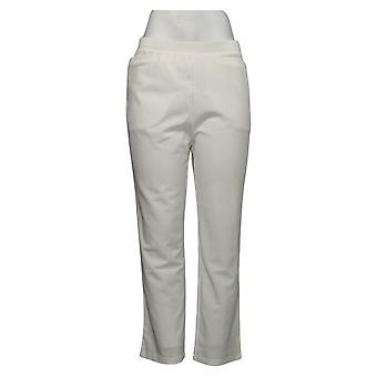 Antthony Women's Petite Pants Boss Lady Stretch Knit Easy Fit White 724681