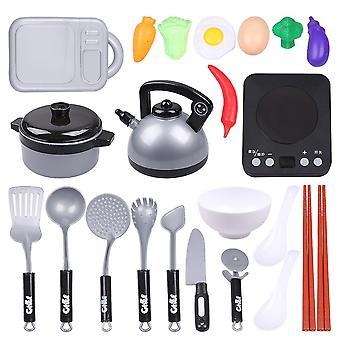 17 * 14Cm kuva 1 24kpl asetettu lasten keittiö lelut simulaatio keittiö ruokailuvälineet eloisa keittiövälineet (rom vihannes lelut) dt3458