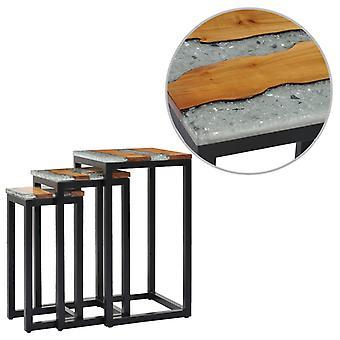 vidaXL tables de set 3 pcs en bois massif teck et polyresine