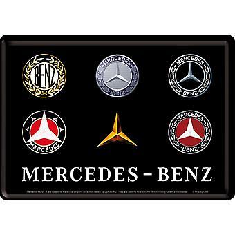 Mercedes Benz Logo Evolution Metal Nostalgiskt kort med kuvert