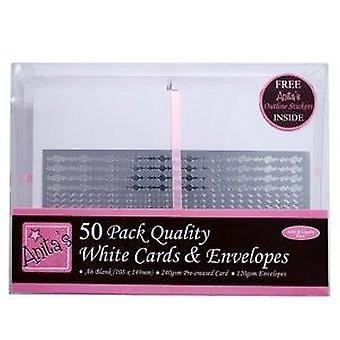 50 Vita A6-kort och kuvert | C6-kort gör tomrum