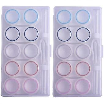 Étui à lentilles de contact clair, cas organisateur de lentilles de contact avec support de voyage -10 pack