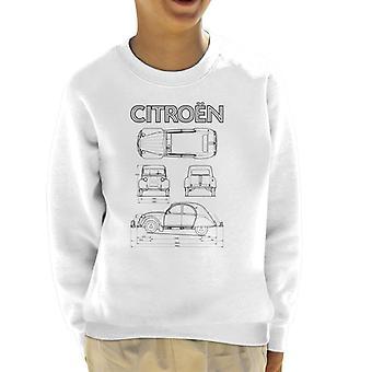 Citroen 2CV Svart diagram visar barns sweatshirt
