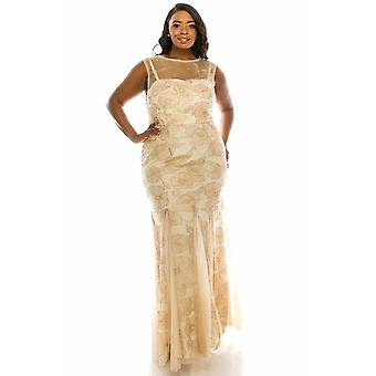 Metallic Floral Evening Gown Dress