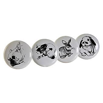 Doorknob DKD HemInredningsdjur Metallkeramik (4 st)