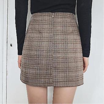 Women Skirt Suit Blazer Retro Plaid Set Single-breasted Jacket Pencil Skirts