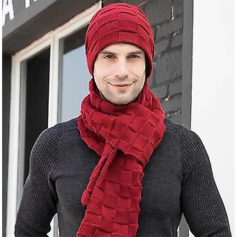 Winter Men Knitted Long Scarf Hat/gloves Set
