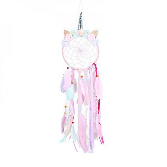 Children's Room Decoration Unicorn Hairpin With Pendant High Stretch Fabric Flower Pink Purple