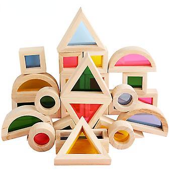 Rainbow Kaleidoscope Blocs de construction Lentilles acryliques Bébé Éducatif Jouets en bois Jouets d'apprentissage cognitif pour enfants