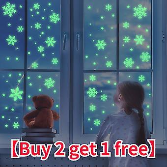 64 sztuki / zestaw świątecznych świecących naklejek na płatek śniegu,
