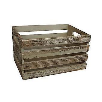 Boîte de rangement supérieur ouvert en bois grand effet chêne