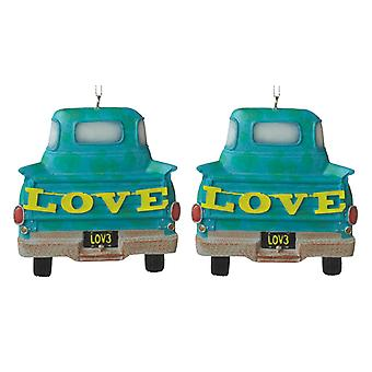 Midwest CBK Country Boy Love Pickup Truck Christmas Holiday Ornaments Set of 2