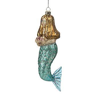 Olho-azul sereia segurando Seashell vidro Natal ornamento do feriado