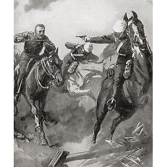 Furious charge of British cavalry at The Battle of Mons 23rd August 1914 during WWI  From The War Illustrated Album Deluxe published 1915 Poster Print by Hilary Jane Morgan  Design Pics