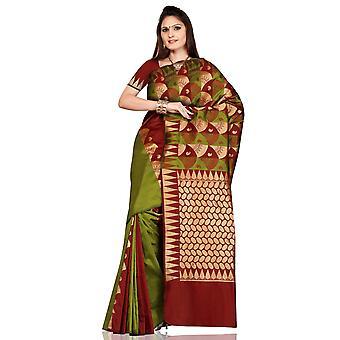 Olive Green with Maroon Art Silk Sari Saree bellydance wrap