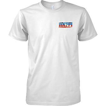 Haiti Grunge Land Name Flag Effect - Kinder-Brust-Design-T-Shirt