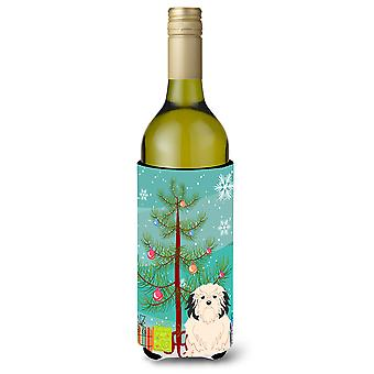 Feliz Navidad árbol Lowchen vino botella Beverge aislador Hugger