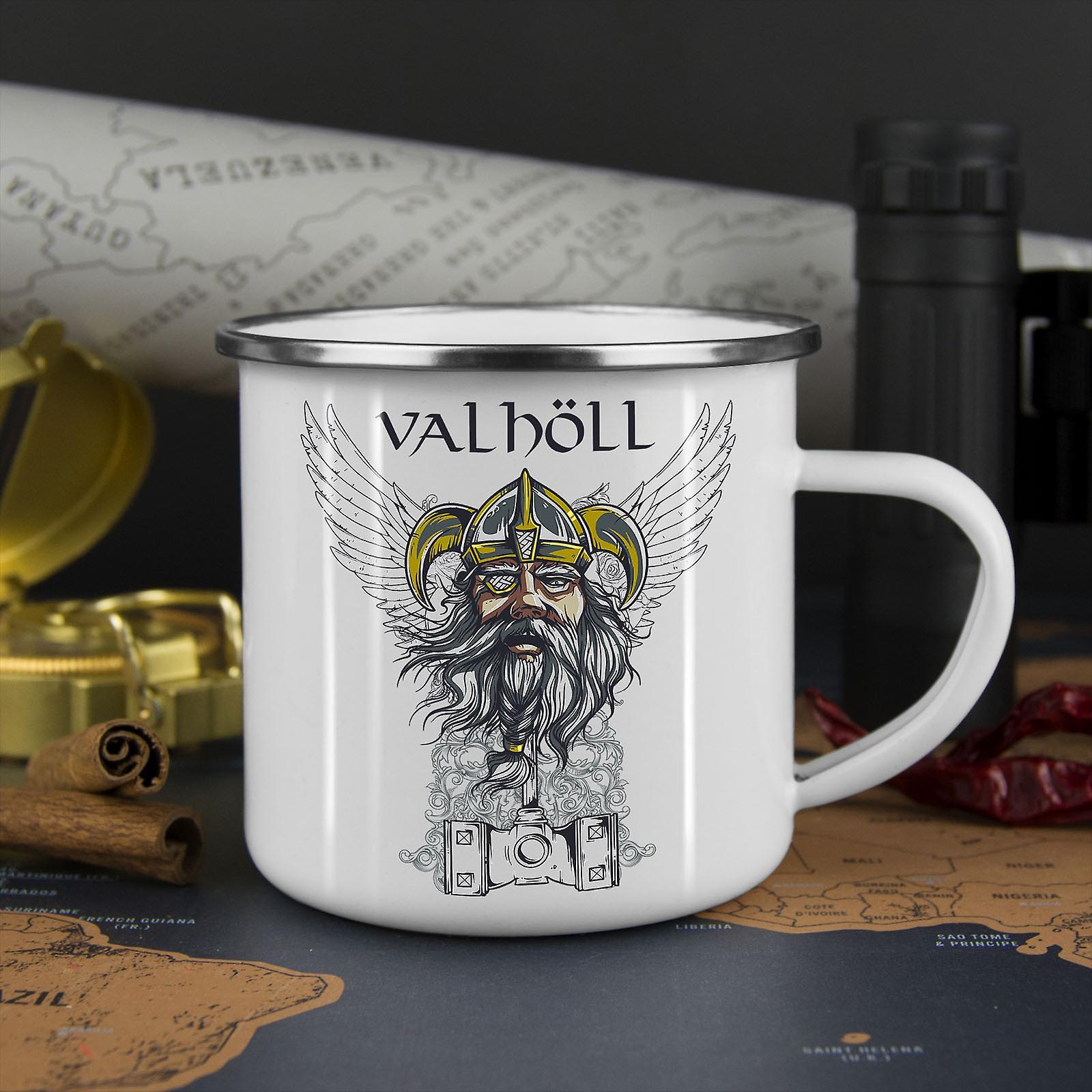 Valhöll Norden Krieg neue WhiteTea Kaffee Emaille Mug10 oz | Wellcoda