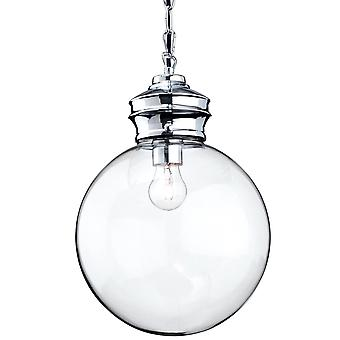 Firstlight Omar hanger licht met helder glazen bol en chroom