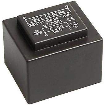 Gerth PT300602 PCB mount transformer 1 x 230 V 2 x 3 V AC 1.80 VA 300 mA