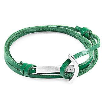 Anchor & Crew Fern Green Clipper Anchor Silver and Flat Leather Bracelet
