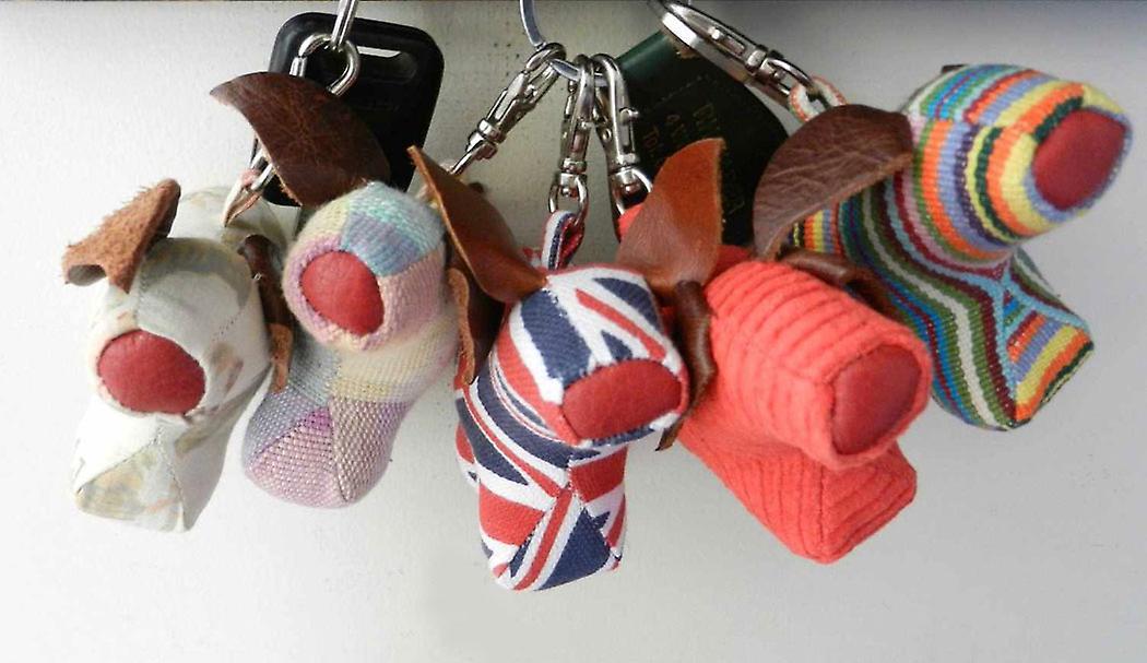 Denim Pig Bag or Key Charm by Monica Richards