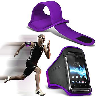 (Dark Purple) Adjustable Sweatproof/Water Resistent Sports Fitness Running Cycling Gym Armband Phone Case For Oukitel K6 [ XXL ]