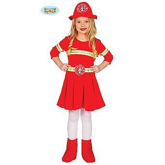 Schickes Feuerwehr Kostüm Kleid für Kinder Mädchen Brandbekämpferin Feuerwehrfrau