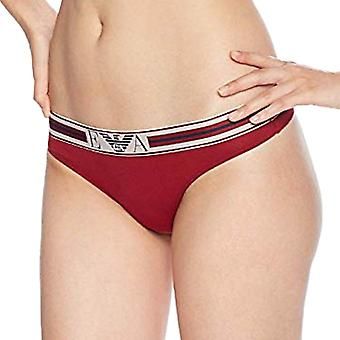 Emporio Armani Women Visibility Pop Lines Stretch Cotton Thong, Rhubarb, Large