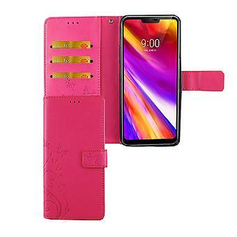 LG G7 ThinQ telefonfodral Skyddsfodral täcka flip case kort bricka rosa