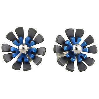 TI2 titanio nero indietro dieci petalo fiore orecchini - blu Navy