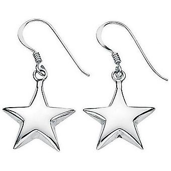 Beginnings Small Puffed Star Drop Earrings - Silver