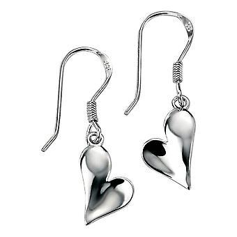 Delar Silver polerat hjärta droppe örhängen - Silver