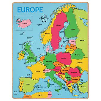 Bigjigs Toys Wooden Geography Europe Inset Jigsaw Puzzle Educational