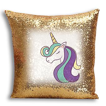 i-Tronixs - Unicorn Printed Design Gold Sequin Cushion / Pillow Cover for Home Decor - 16