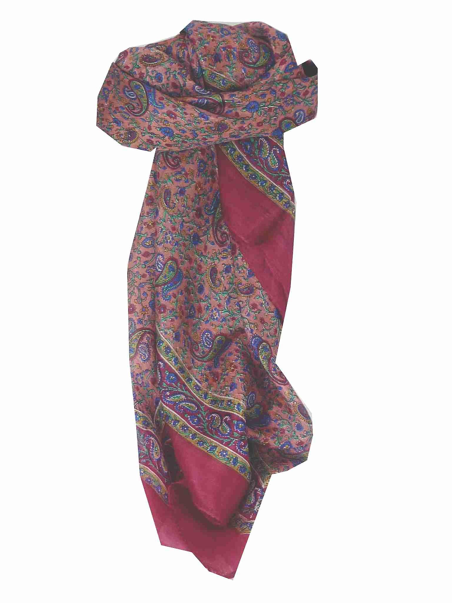 Mulberry Silk Traditional Square Scarf Abbe Pink by Pashmina & Silk