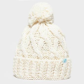 New Alpine Women's Chunky Winter Warm Casual Bobble Hat White