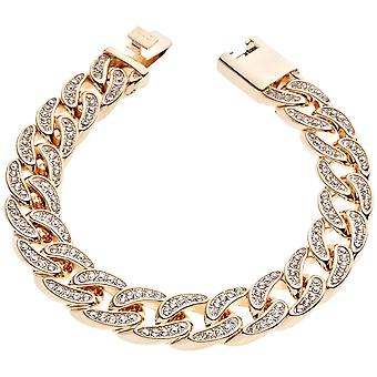 Iced out chain bracelet - CUBAN CZ 12 mm rose gold