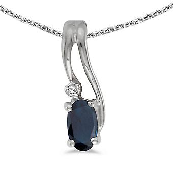 LXR 10k White Gold Oval Sapphire and Diamond Wave Pendant 0.25ct