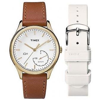 Timex estilo elevado ouro chapeado caso couro marrom Strap Ladies Watch TWG013600 36mm