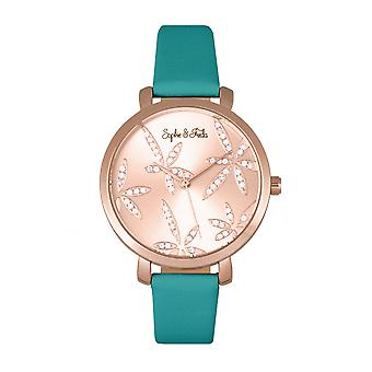 Sophie & Freda Key West-bracelet en cuir montre w/Swarovski cristaux - Rose Gold/Teal