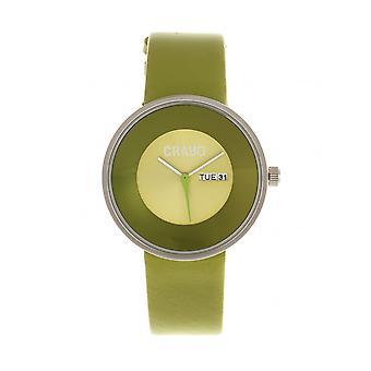 Pulsante di pastelli-cinturino pelle Unisex Watch w / giorno/data - verde