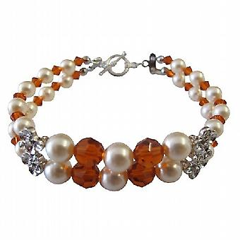 Vrouw vriendin moeder stijlvol Swarovski parels & armband met kristallen